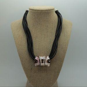 Chico's Black Multi Strand Silver Pendant Necklace